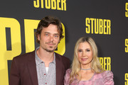 """Christopher Backus and Mira Sorvino attend the Premiere of 20th Century Fox's """"Stuber"""" at Regal Cinemas L.A. Live on July 10, 2019 in Los Angeles, California."""