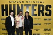 """(L-R) Logan Lerman, Jordan Peele, and Al Pacino attend the premiere of Amazon Prime Video's """"Hunters"""" at DGA Theater on February 19, 2020 in Los Angeles, California."""