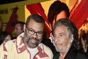"""(L-R) Jordan Peele and Al Pacino attend the premiere of Amazon Prime Video's """"Hunters"""" at DGA Theater on February 19, 2020 in Los Angeles, California."""
