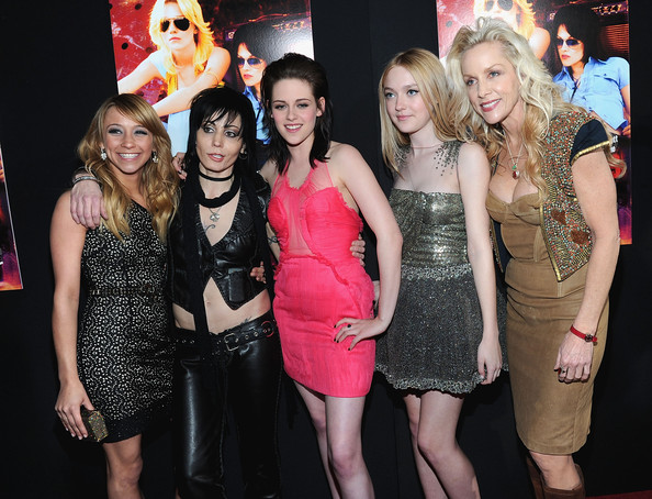 "(L-R) Actress Stella Maeve, musician Joan Jett, actresses Kristen Stewart, Dakota Fanning, and musician Cherie Currie arrive at the premiere of Apparition's ""The Runaways"" held at ArcLight Cinemas Cinerama Dome on March 11, 2010 in Los Angeles, California."