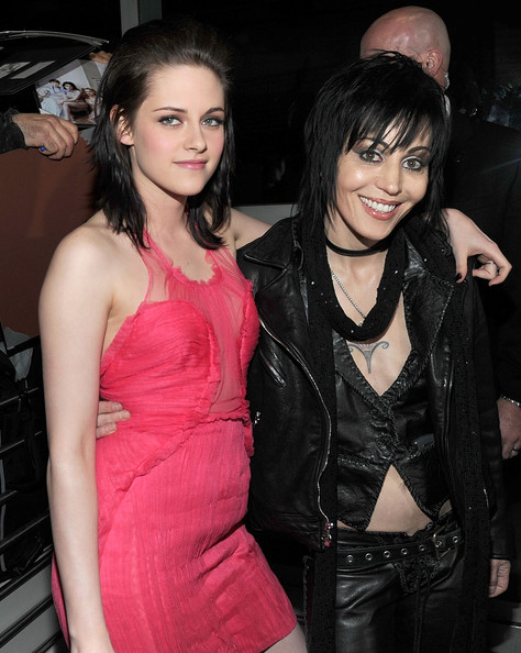 "Actress Kristen Stewart (L) and musician Joan Jett arrive at the premiere of Apparition's ""The Runaways"" held at ArcLight Cinemas Cinerama Dome on March 11, 2010 in Los Angeles, California."