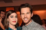 Lizzy Caplan and Tom Riley attend the after party of Apple TV+'s 'Truth Be Told' on November 11, 2019 in Beverly Hills, California.