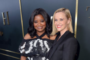 """(L-R) Octavia Spencer and Reese Witherspoon attend the Premiere of Apple TV+'s """"Truth Be Told"""" at AMPAS Samuel Goldwyn Theater on November 11, 2019 in Beverly Hills, California."""