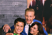 """(L-R) Charles Melton, Alexander Ludwig, and Vanessa Hudgens attend the premiere of Columbia Pictures' """"Bad Boys For Life"""" at TCL Chinese Theatre on January 14, 2020 in Hollywood, California."""