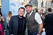 "Composer Dominic Lewis (R) and actor James Corden attend the premiere of Columbia Pictures' ""Peter Rabbit"" at The Grove on February 3, 2018 in Los Angeles, California."