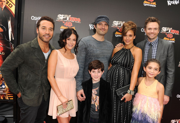 "(L-R) Actors Jeremy Piven and Alexa Vega, writer/director Robert Rodriguez and actors Mason Cook, Jessica Alba, Rowan Blanchard and Joel McHale arrive at ""Spy Kids: All The Time In The World 4D"" Los Angeles premiere at the Regal Cinemas L.A. Live on July 31, 2011 in Los Angeles, California."