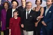 """(L-R) Actors Penelope Wilton, Mark Rylance, Ruby Barnhill, Bill Hader, director Steven Spielberg, actors Rebecca Hall and Rafe Spall arrive on the red carpet for the US premiere of Disney's """"The BFG,"""" directed and produced by Steven Spielberg. A giant sized crowd lined the streets of Hollywood Boulevard to see stars arrive at the El Capitan Theatre. """"The BFG"""" opens in U.S. theaters on July 1, 2016, the year that marks the 100th anniversary of Dahl's birth, at the El Capitan Theatre on June 21, 2016 in Hollywood, California."""
