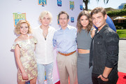 "(L-R) Actors Grace Phipps, Ross Lynch, Gary Marsh, President and Chief Creative Officer for Disney Channels Worldwide, Maia Mitchell and Garrett Clayton attend the premiere of Disney Channel's ""Teen Beach 2"" at Walt Disney Studios on June 22, 2015 in Burbank, California."