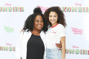 "Sherri Shepherd (L) and Kylee Russell attend the Los Angeles premiere for Disney Channel's ""Zombies"" held at Walt Disney Studio Lot on February 3, 2018 in Burbank, California."