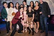 "(L-R) Jazzy Jade, Ilana Pena, Tess Romero, Charlie Bushnell, Selenis Leyva, Harmeet K. Pandey, Gina Rodriguez, Michael Weaver and cast members arrive at the Disney +'s ""Diary Of A Future President"" after party on January 14, 2020 in Hollywood, California."