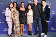"Ilana Pena, Selenis Leyva, Gina Rodriguez, Tess Romero, Michael Weaver, and Charlie Bushnell attend the Premiere Of Disney +'s ""Diary Of A Future President"" at ArcLight Cinemas on January 14, 2020 in Hollywood, California."