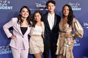 "Ilana Pena, Tess Romero, Charlie Bushnell, and Selenis Leyva attend the Premiere Of Disney +'s ""Diary Of A Future President"" at ArcLight Cinemas on January 14, 2020 in Hollywood, California."