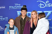"""(L-R) Bronx Wentz, Evan Ross, Ashlee Simpson and Jagger Snow Ross attend the premiere of Disney's """"Frozen 2"""" at Dolby Theatre on November 07, 2019 in Hollywood, California."""
