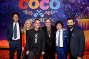 "(L-R) Actor Benjamin Bratt, producer Darla K. Anderson, director Lee Unkrich, executive producer John Lasseter, actor Anthony Gonzalez and co-director Adrian Molina pose at the premiere of Disney Pixar's ""Coco"" at the El Capitan Theatre on November 8, 2017 in Los Angeles, California."