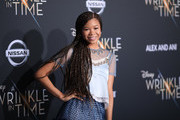 "Storm Reid attends the premiere of Disney's ""A Wrinkle In Time"" at the El Capitan Theatre on February 26, 2018 in Los Angeles, California."