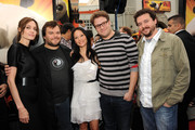 She hits the red carpet with Jack Black, Danny McBride, Seth Rogen, and Lucy Liu. - Angelina Jolie's Celebrity Friends