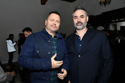 """Nick Offerman and Alex Garland attend the after party for the premiere of FX's """"Devs"""" on March 02, 2020 in Hollywood, California."""