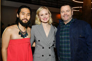 """(L-R) Jin Ha, Alison Pill and Nick Offerman attend the after party for the premiere of FX's """"Devs"""" on March 02, 2020 in Hollywood, California."""
