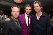 "(L-R) Creator/executive producer Noah Hawley, actors Dan Stevens and Hamish Linklater pose at the after party for the season 2 premiere of FX's ""Legion"" at Soho House on April 2, 2018 in West Hollywood, California."