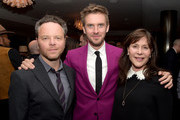 "(L-R) Creator/executive producer Noah Hawley, actor Dan Stevens and executive producer Lauren Shuler Donner pose at the after party for the season 2 premiere of FX's ""Legion"" at Soho House on April 2, 2018 in West Hollywood, California."