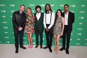 """(L-R) Andrew Santino, Taylor Misiak, Dave Burd, Gata, Christine Ko and Travis """"Taco"""" Bennett attend the premiere of FXX's """"Dave"""" at Directors Guild Of America on February 27, 2020 in Los Angeles, California."""