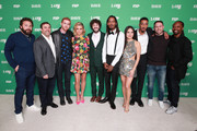 """(L-R) Mike Hertz, Jeff Schaffer, Andrew Santino, Taylor Misiak, Dave Burd, Gata, Christine Ko, Travis """"Taco"""" Bennett, Scooter Braun and Saladin Patterson attend the premiere of FXX's """"Dave"""" at Directors Guild Of America on February 27, 2020 in Los Angeles, California."""