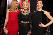 "(L-R) Actress Toni Collette, Dame Helen Mirren and actress Jessica Biel arrive at the premiere of Fox Searchlight Pictures' ""Hitchcock"" at the Academy of Motion Picture Arts and Sciences Samuel Goldwyn Theater on November 20, 2012 in Beverly Hills, California."