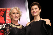 "Dame Helen Mirren and actress Jessica Biel arrive at the premiere of Fox Searchlight Pictures' ""Hitchcock"" at the Academy of Motion Picture Arts and Sciences Samuel Goldwyn Theater on November 20, 2012 in Beverly Hills, California."