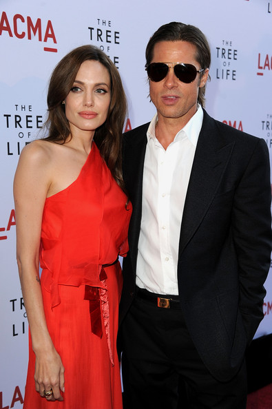"Actors Angelina Jolie and Brad Pitt arrive at premiere of Fox Searchlight Pictures' ""The Tree of Life"" at Bing Theatre at the Los Angeles County Museum of Art on May 24, 2011 in Los Angeles, California."