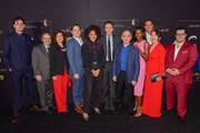 "Zach Woods, Ethan Phillips, Rebecca Front, Kyle Bornheimer, Lenora Crichlow, Hugh Laurie, Armando Iannucci, Nikki Amuka-Bird, Andy Buckley, Suzy Nakamura and Josh Gad attend the premiere of HBO's ""Avenue 5""  at Avalon Theater on January 14, 2020 in Los Angeles, California."