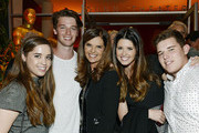 Executive producer Maria Shriver (C) is flanked by her children from left, Christina Schwarzenegger; Patrick Schwarzenegger; Katherine Schwarzenegger and Christopher Schwarzenegger at the reception after the premiere of HBO Documentary Films' 'Paycheck To Paycheck' at Linwood Dunn Theater at the Pickford Center for Motion Study March 10, 2014, in Hollywood, California.