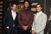 """(L-R) Casey Bloys, Maverick Carter, and Peter Nelson attends the premiere of HBO's """"What's My Name: Muhammad Ali"""" at Regal Cinemas L.A. LIVE Stadium 14 on May 08, 2019 in Los Angeles, California."""