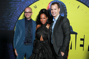 """(L-R) Damon Lindelof, Regina King, and HBO programing president Casey Bloys attend the premiere of HBO's """"Watchmen"""" at The Cinerama Dome on October 14, 2019 in Los Angeles, California."""