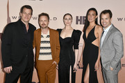"(L-R) Jonathan Nolan, Aaron Paul, Evan Rachel Wood, Lisa Joy, and President, HBO Programming, Casey Bloys attend the Premiere of HBO's ""Westworld"" Season 3 at TCL Chinese Theatre on March 05, 2020 in Hollywood, California."