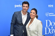 """Ken Marino and Eva Longoria attend the pre-party for the premiere of LD Entertainment's """"Dog Days"""" at Westfield Century City on August 5, 2018 in Century City, California."""