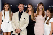 (L-R) Sistine Rose, actor Sylvester Stallone, Sophia Rose Stallone; Jennifer Flavin Stallone and Scarlet Rose Stallone attend Lionsgate Films' 'The Expendables 3' premiere at TCL Chinese Theatre on August 11, 2014 in Hollywood, California.