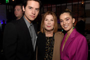 """(L-R) Cole Sprouse, Terry Press and Haley Lu Richardson attend the after party for the premiere of CBS Films' """"Five Feet Apart"""" at STK Westwood on March 07, 2019 in Los Angeles, California."""