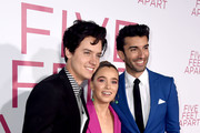 """(L-R) Cole Sprouse, Haley Lu Richardson and Justin Baldoni arrive at the premiere of CBS Films' """"Five Feet Apart"""" at the Fox Bruin Theatre on March 07, 2019 in Los Angeles, California."""