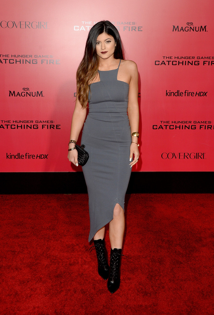 "TV personality Kylie Jenner arrives at the premiere of Lionsgate&squot;s ""The Hunger Games: Catching Fire"" at Nokia Theatre L.A. Live on November 18, 2013 in Los Angeles, California."