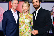 (L-R) CEO of Lionsgate Jon Feltheimer, Laurie Demarest, and Justin Theroux attend the premiere of Lionsgate's 'The Spy Who Dumped Me' at Fox Village Theater on July 25, 2018 in Los Angeles, California.