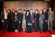 (L-R) Marc Resteghini, Marin Hinkle, Tony Shalhoub, Alex Borstein, Michael Zegen, Rachel Brosnahan,  Amy Sherman-Palladino,  Daniel Palladino, Caroline Aaron, Kevin Pollak, Chris Bird and Cristoph Schneider attend Premiere The Marvelous Mrs. Maisel S2 - Milan event at Cinema Odeon on December 3, 2018 in Milan, Italy