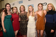 """Lillian Doucet-Roche, Erin Moriarty, Helen Hunt, Danika Yarosh, Natalie Sharp and Rebecca Staab attend the Premiere Of Mirror And LD Entertainment's """"The Miracle Season"""" at The London West Hollywood on March 27, 2018 in West Hollywood, California."""