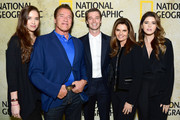"(L-R) Christina Schwarzenegger, Arnold Schwarzenegger, Patrick Schwarzenegger, Maria Shriver and Katherine Schwarzenegger attend the premiere of National Geographic's ""The Long Road Home"" at Royce Hall on October 30, 2017 in Los Angeles, California."