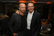 """Aaron Paul (L) and Bryan Cranston attend the Premiere of Netflix's """"El Camino: A Breaking Bad Movie"""" After Party at Baltaire on October 07, 2019 in Los Angeles, California."""