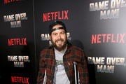 """Chris Pontius attends the premiere of the Netflix film """"Game Over, Man!"""" at the Regency Village Westwood in Los Angeles at Regency Village Theatre on March 21, 2018 in Westwood, California."""
