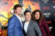 """(L-R) Anders Holm, Adam DeVine, Blake Anderson attend the premiere of the Netflix film """"Game Over, Man!"""" at the Regency Village Westwood in Los Angeles at Regency Village Theatre on March 21, 2018 in Westwood, California."""