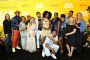"Cindy Holland, Justin, Yvette Lee Bowser, DeRon Horton, Irene Lee, John Patrick Amedori, Antoinette Robertson, Brandon P. Bell, Ashley Blaine Featherson, Logan Browning, Marque Richardson, Jane Wiseman, Kristen Zolner attendsthe premier of the Netflix Original Series ""Dear White People"" Volume 3 at Regal LA Live on August 01, 2019 in Los Angeles, California."
