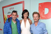Comedian David Spade, actress Catherine Bell and comedian Adam Sandler attend the premiere of Netflix's 'The Do Over' at Regal LA Live Stadium 14 on May 16, 2016 in Los Angeles, California.