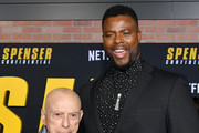 """(L-R) Alan Arkin and Winston Duke attend the Premiere of Netflix's """"Spenser Confidential"""" at Regency Village Theatre on February 27, 2020 in Westwood, California."""