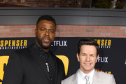 """(L-R) Winston Duke and Mark Wahlberg attend the Premiere of Netflix's """"Spenser Confidential"""" at Regency Village Theatre on February 27, 2020 in Westwood, California."""